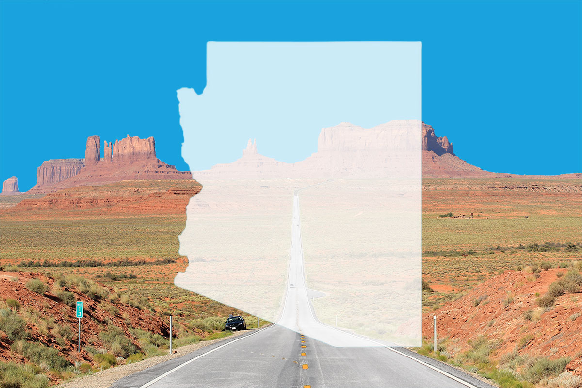 Shape of the state of Arizona superimposed on highway
