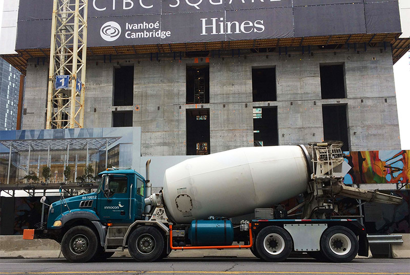 concrete mixer truck in downtown area
